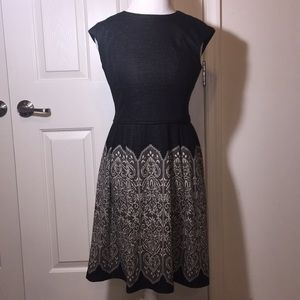 Maggy London sheath dress gray faux lace